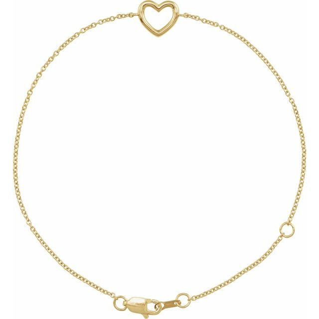 "14K Yellow Heart 6 1/2-7 1/2"" Bracelet"