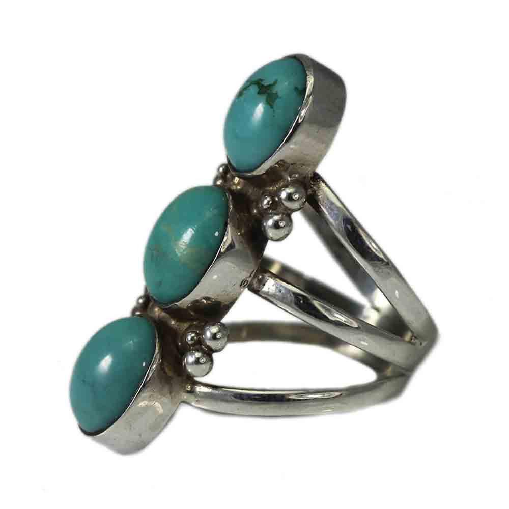 Sterling Silver Triple Turquoise and Band Ring