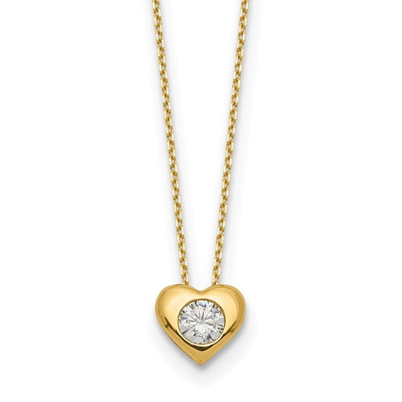 14k Polished CZ Heart Slide Necklace