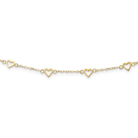 14k Polished Open Hearts on Heart Link 17-Station Necklace