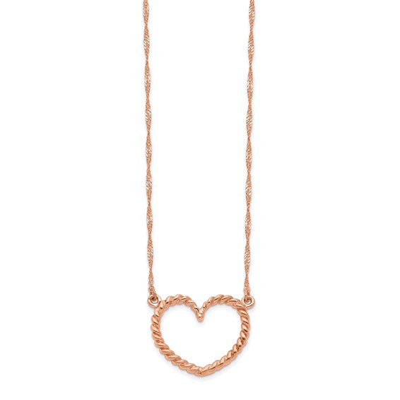 14k Rose Gold Polished and Textured Heart Necklace