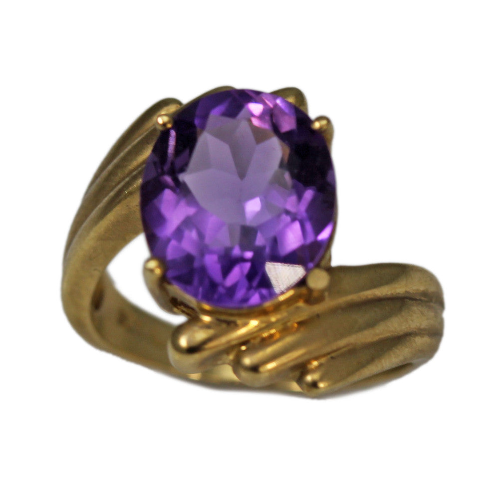 14K Yellow Gold Oval Amethyst Stone