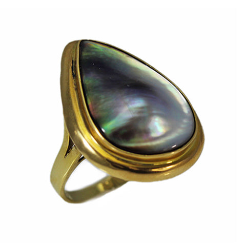 14K Gold Gray Mabe Pearl Ring