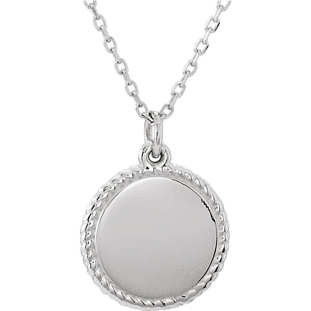 "14K White Engravable Round 16-18"" Rope Necklace"