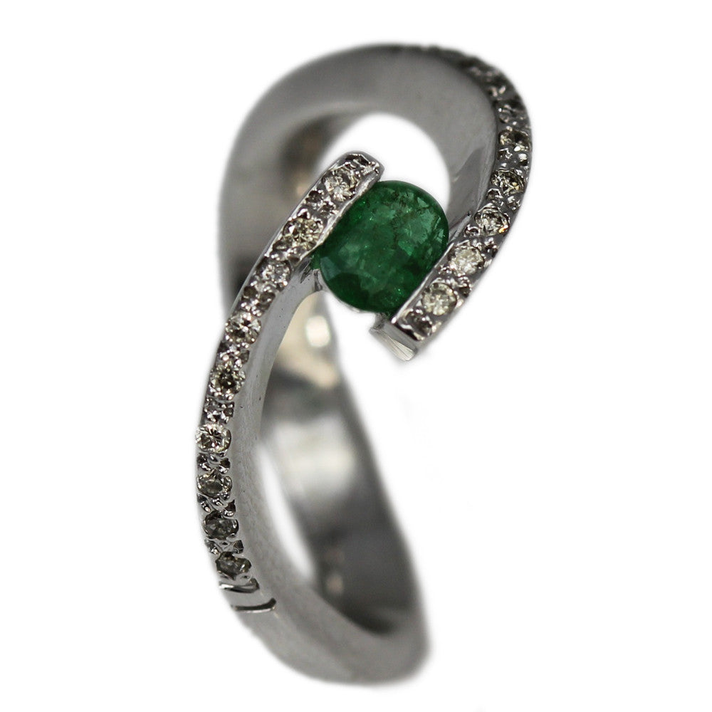 14K White Gold Emerald and Out-Lined Diamond Ring