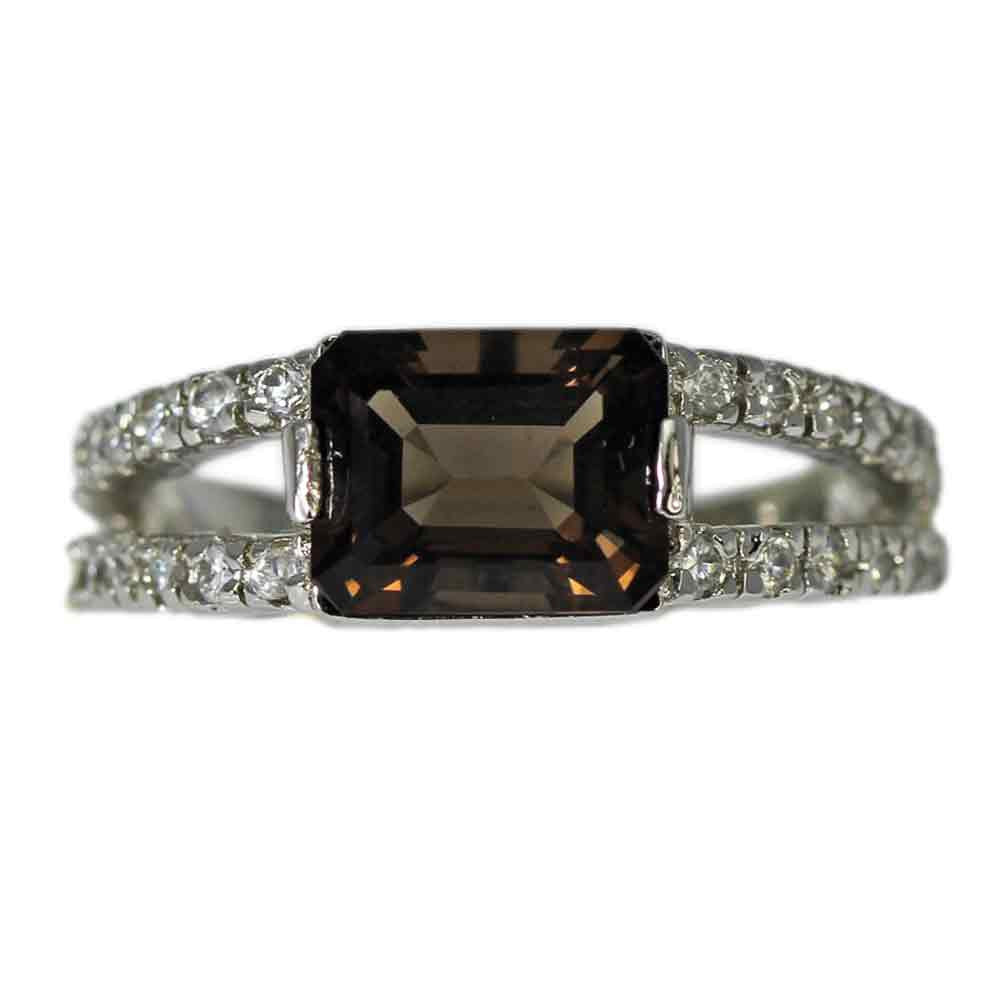 Split Side Cubic Zirconia with Smoky Topaz Ring