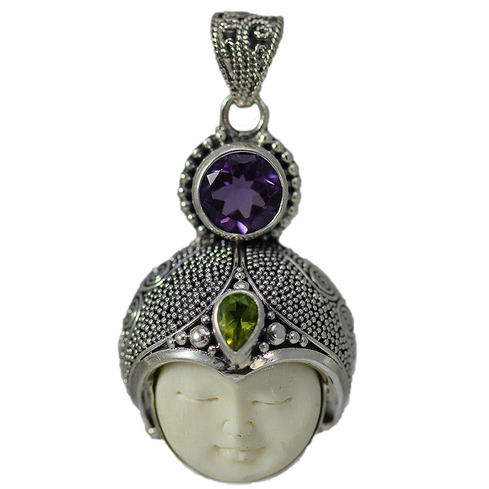Carved Bone Round Face with Amethyst and Peridot Pendant