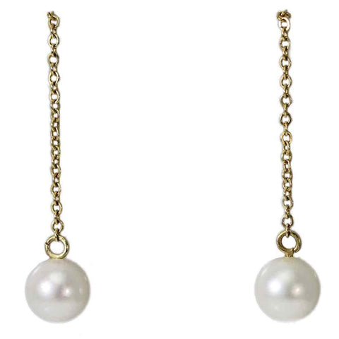 14K Pearl Thread Earrings