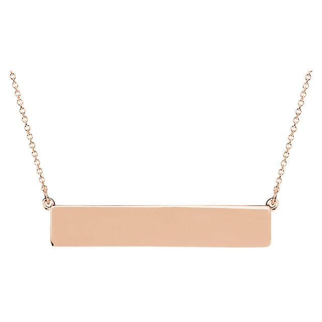 14K White Gold Engravable Bar Necklace