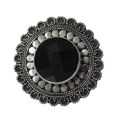 Beaded and Rope Black Onyx Ring