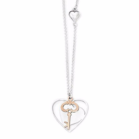 "Sterling Silver & Rose-toned Polished Moveable Heart and Key Pendant with 18"" Necklace"