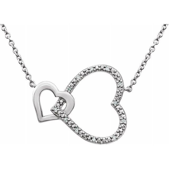 "Sterling Silver .03 CTW Diamond Interlocking Heart 18"" Necklace"
