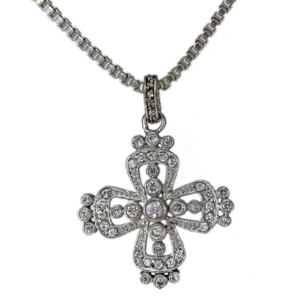 Handmade Cubic Zirconia Cross Necklace