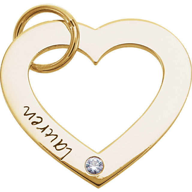 14K Rose Gold One-Stone Posh Mommy  Engravable Heart Pendant