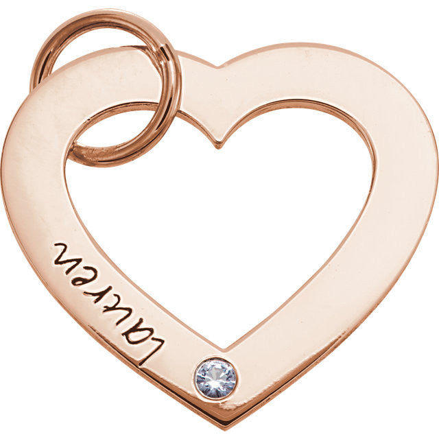 14K White Gold One-Stone Posh Mommy  Engravable Heart Pendant