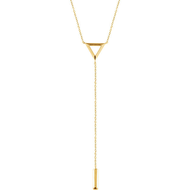 "14K Rose Triangle & Bar Y 16-18"" Necklace"