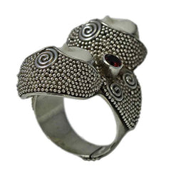 Two-Faced Carved Bone Ring With Garnet