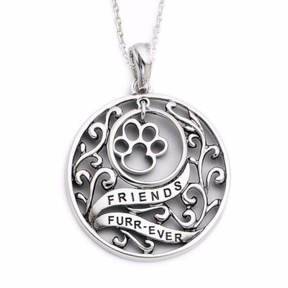 Sterling silver antiqued animal friends dog paw print pendant with forever in my heart jewelry aloadofball
