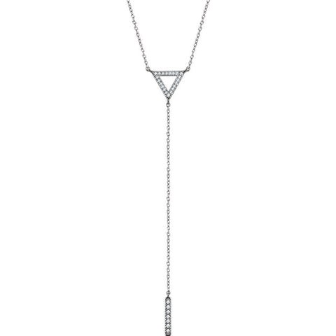 "14K Gold 1/6 CTW Diamond Triangle & Bar Y 16-18"" Necklace"