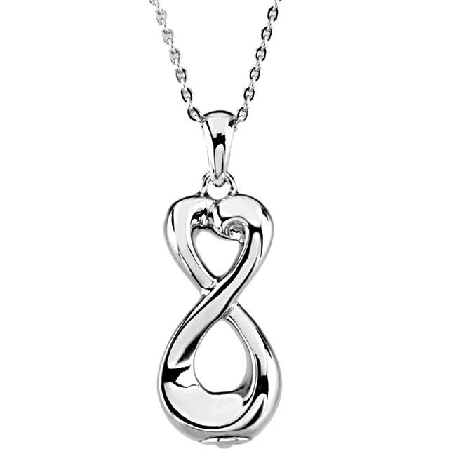 "Sterling Silver Infinite Love Ash Holder 18"" Necklace"