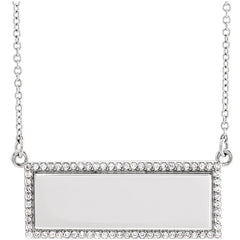 14K  1/6 CTW Diamond Engravable Necklace