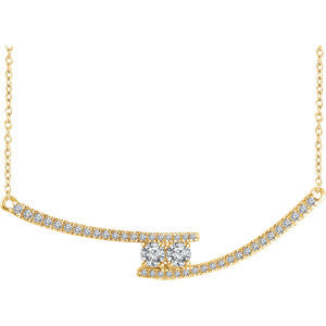 "14K White 3/8 CTW Diamond Two-Stone Bar 16-18"" Necklace"
