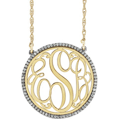 "14K White 1/4 CTW Diamond Script Monogram 18"" Necklace"