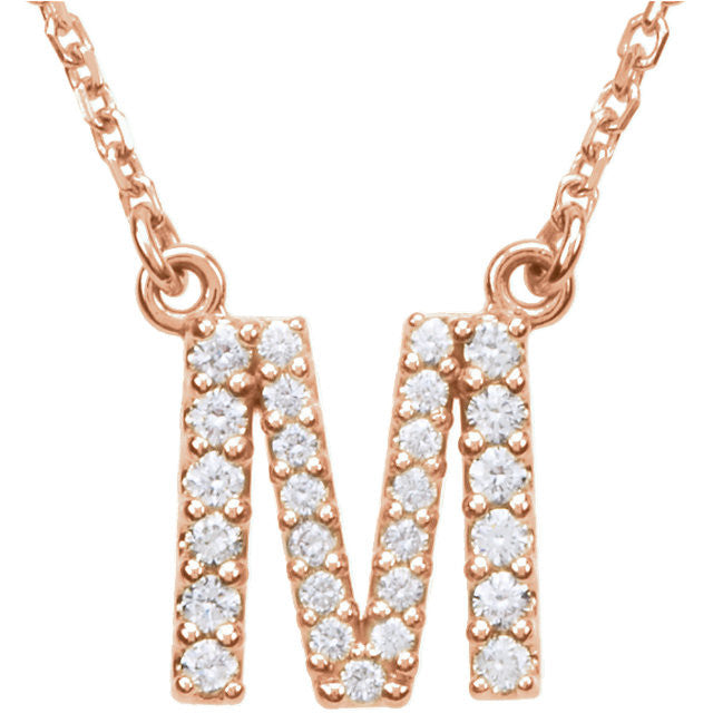 "14K  Letter ""M"" 1/5 CTW Diamond 16"" Necklace"