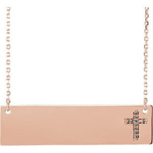 "14K Rose Engravable .03 CTW Diamond Cross 16-18"" Necklace"