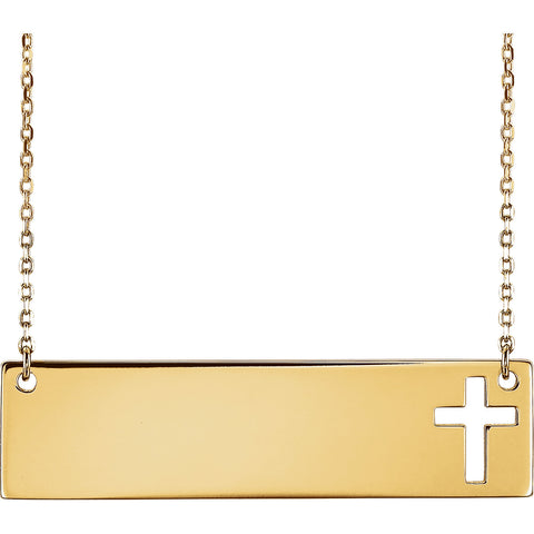 "14K Yellow Engravable Cross 16-18"" Necklace"