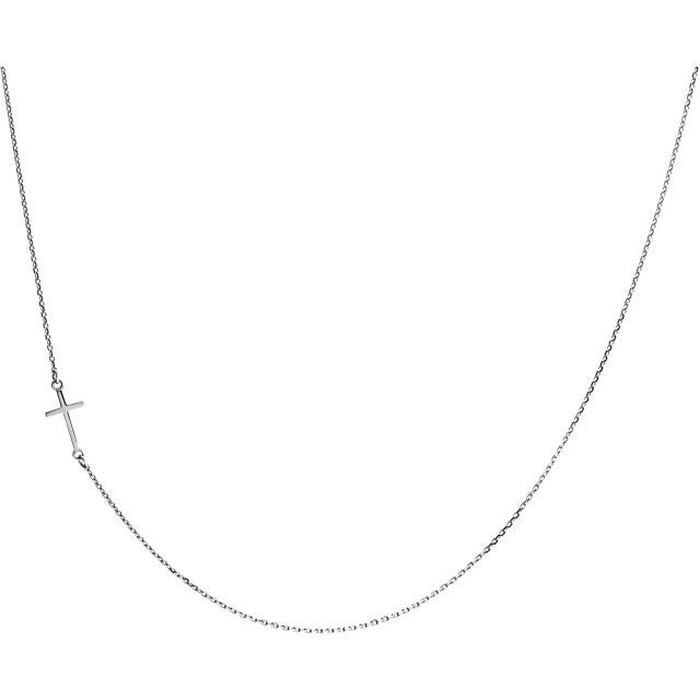 "14K White Sideways Cross 16"" Necklace"