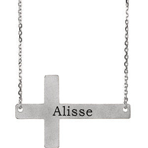 "14K White Engravable Sideways Cross 16-18"" Necklace"
