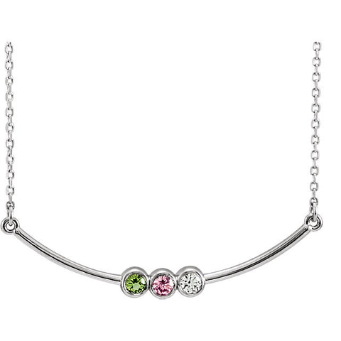 14K Three-Stone Bezel Set Bar Family Necklace Mounting