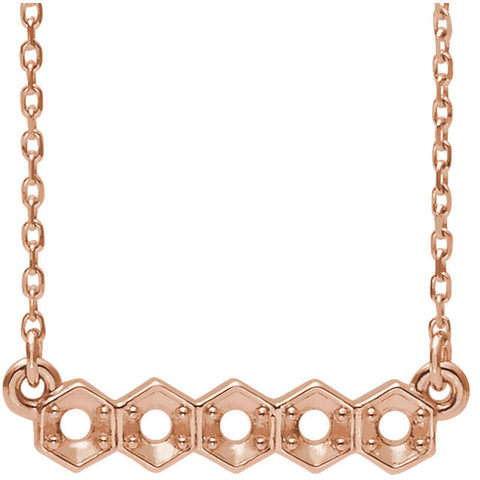 14K Rose Five-Stone Bar Necklace Mounting