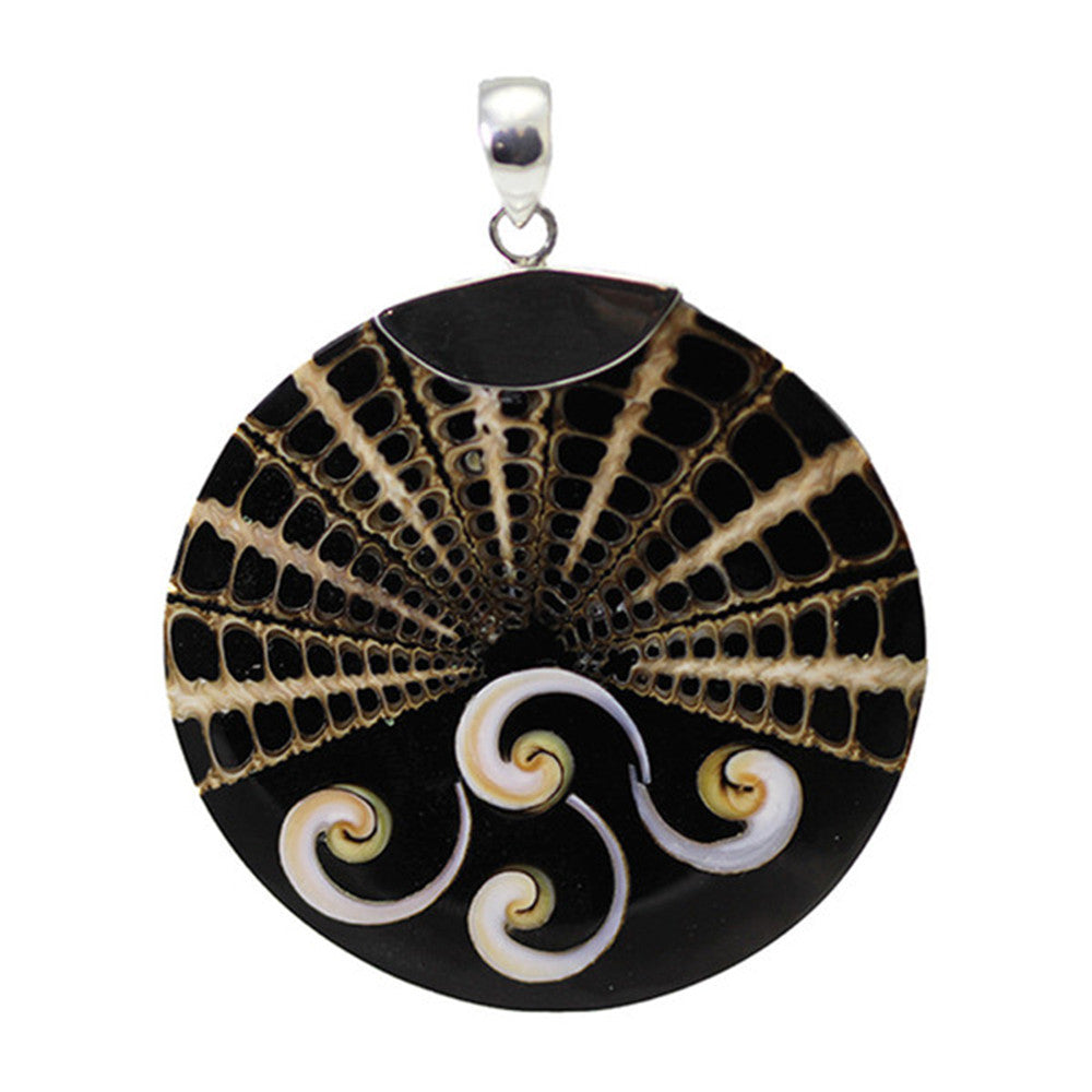 Sterling Silver Round Black Shell