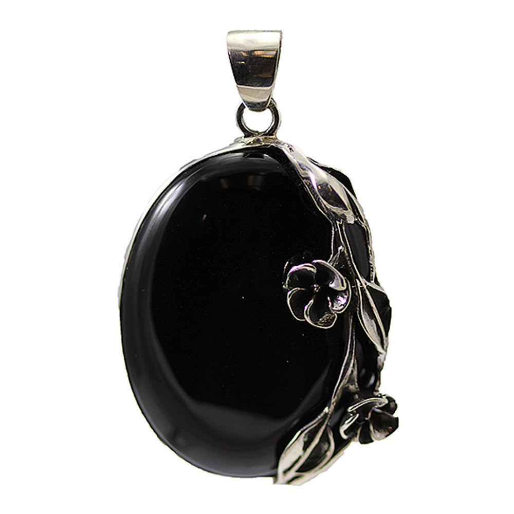 Oval Black Onyx with Sterling Silver Flower Detailing