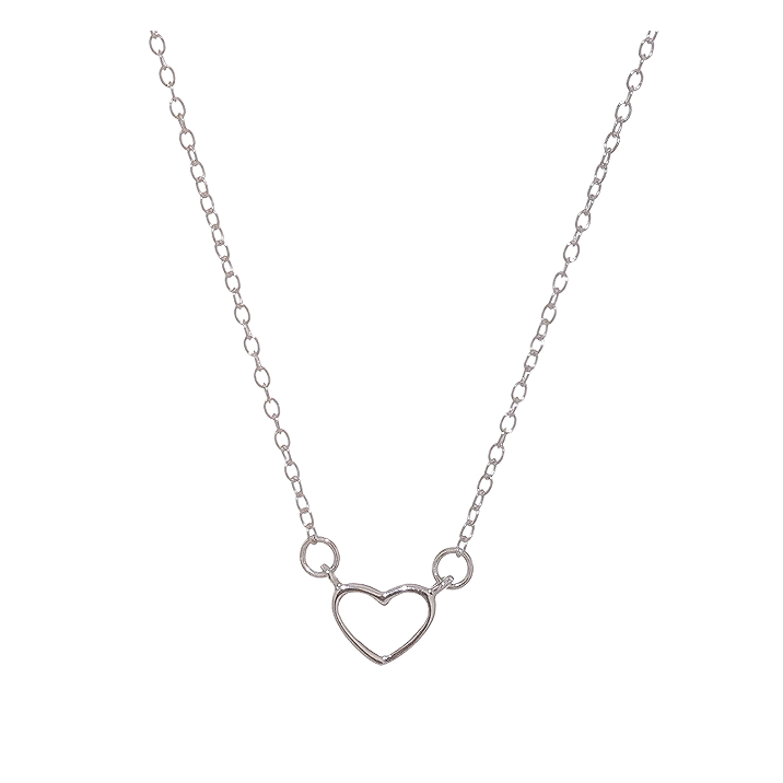 Sterling Silver Rhodium-plated 18in Heart Necklace