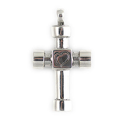 Handmade Sterling Silver Cross Pendant With Heart Engraving