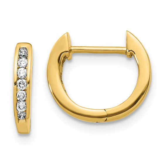 14K Gold Polished Lab Grown Diamond SI1/SI2, G H I, Hinged Hoop Earrings