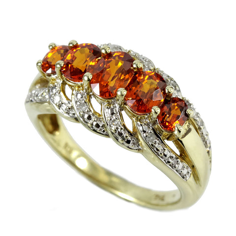 10K Yellow Gold Yellow Garnet and Diamond Cluster Ring
