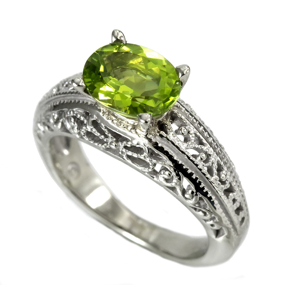 14K White Gold Filigree Shank Peridot Ring