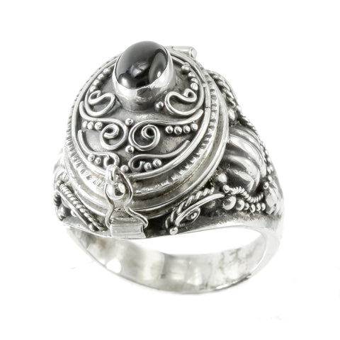 Sterling Silver Locket Ring with Onyx