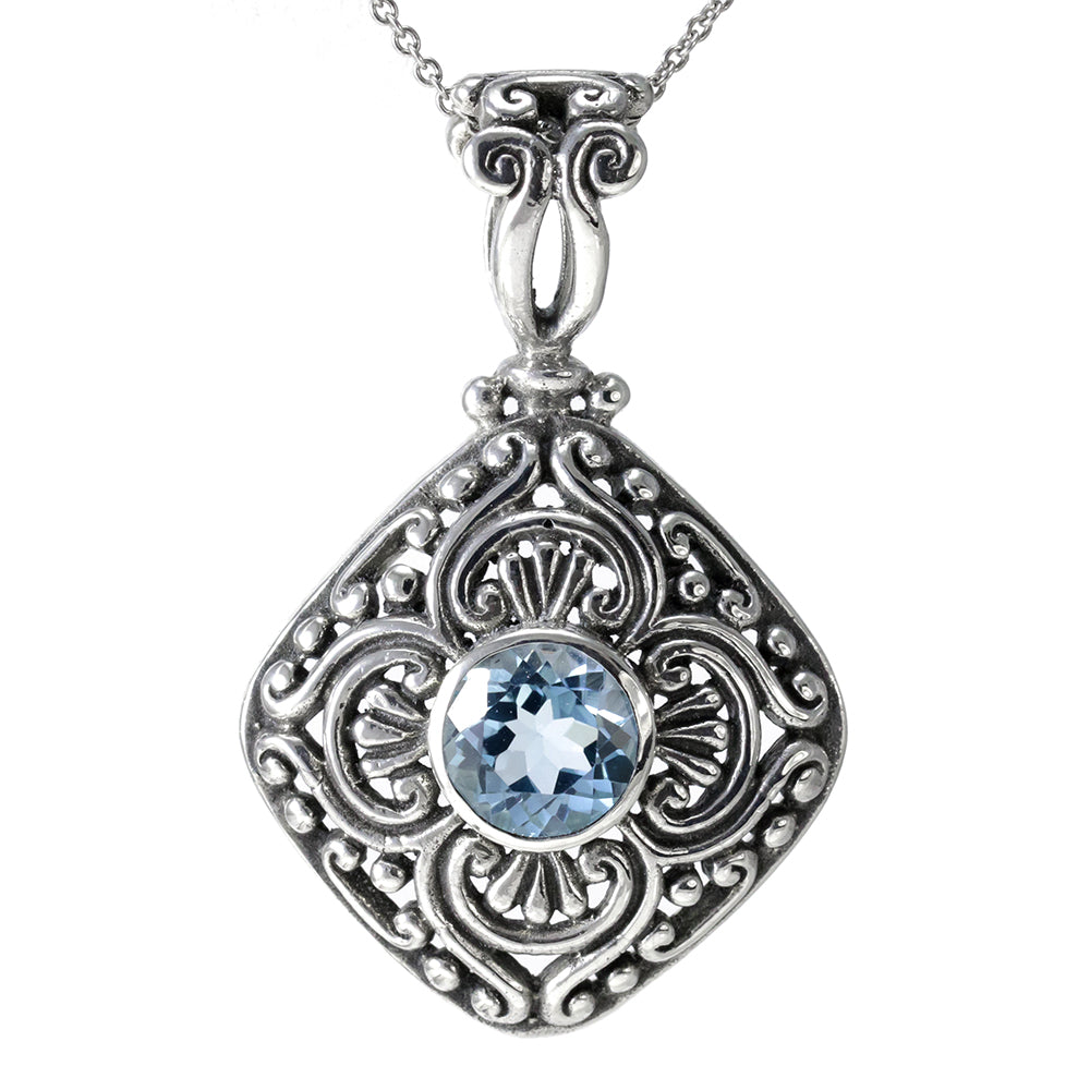 Sterling Silver and Blue Topaz Pendant & Necklace