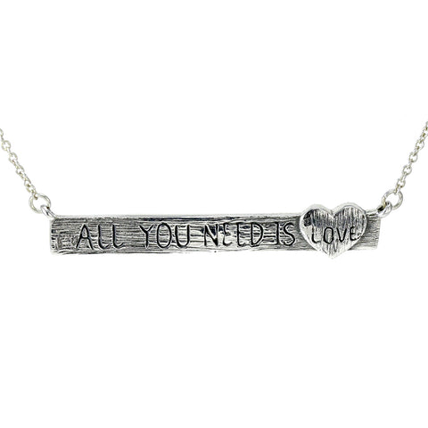 "Sterling Silver ""All You Need Is Love"" Necklace & Pendant"
