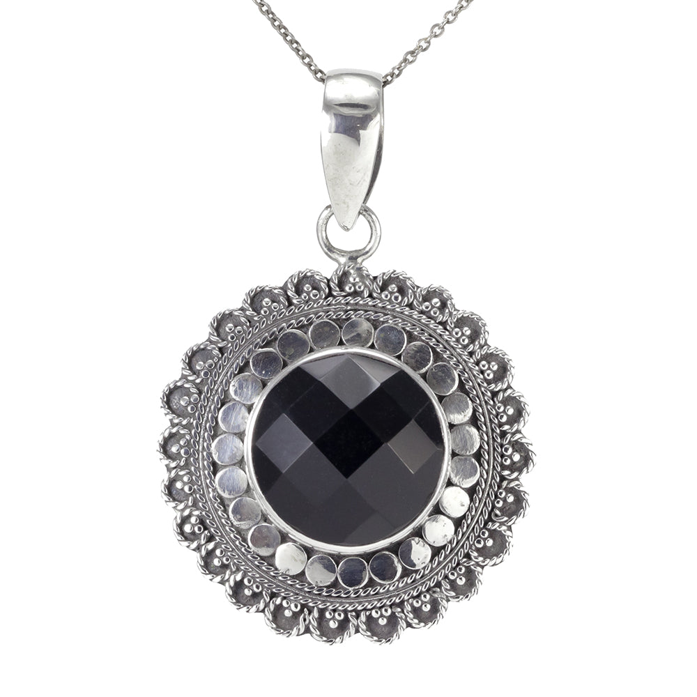 Handmade Sterling Silver Onyx Pendant & Necklace