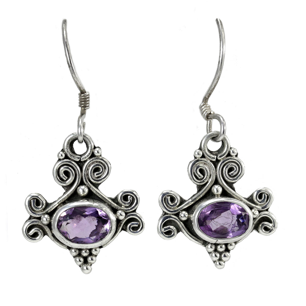 Amethyst and Sterling Silver Handmade Earrings