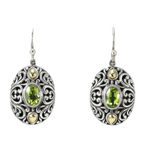Sterling Silver, Two-Tone, Peridot Earrings