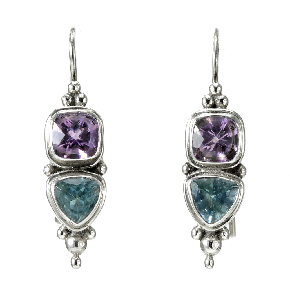 Amethyst and Blue Topaz, Sterling Silver Earrings