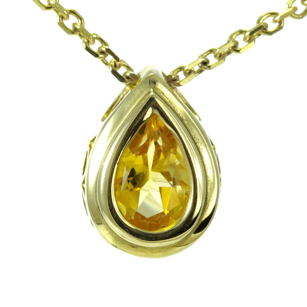 14k yellow gold bezel set pear shape citrine pendant