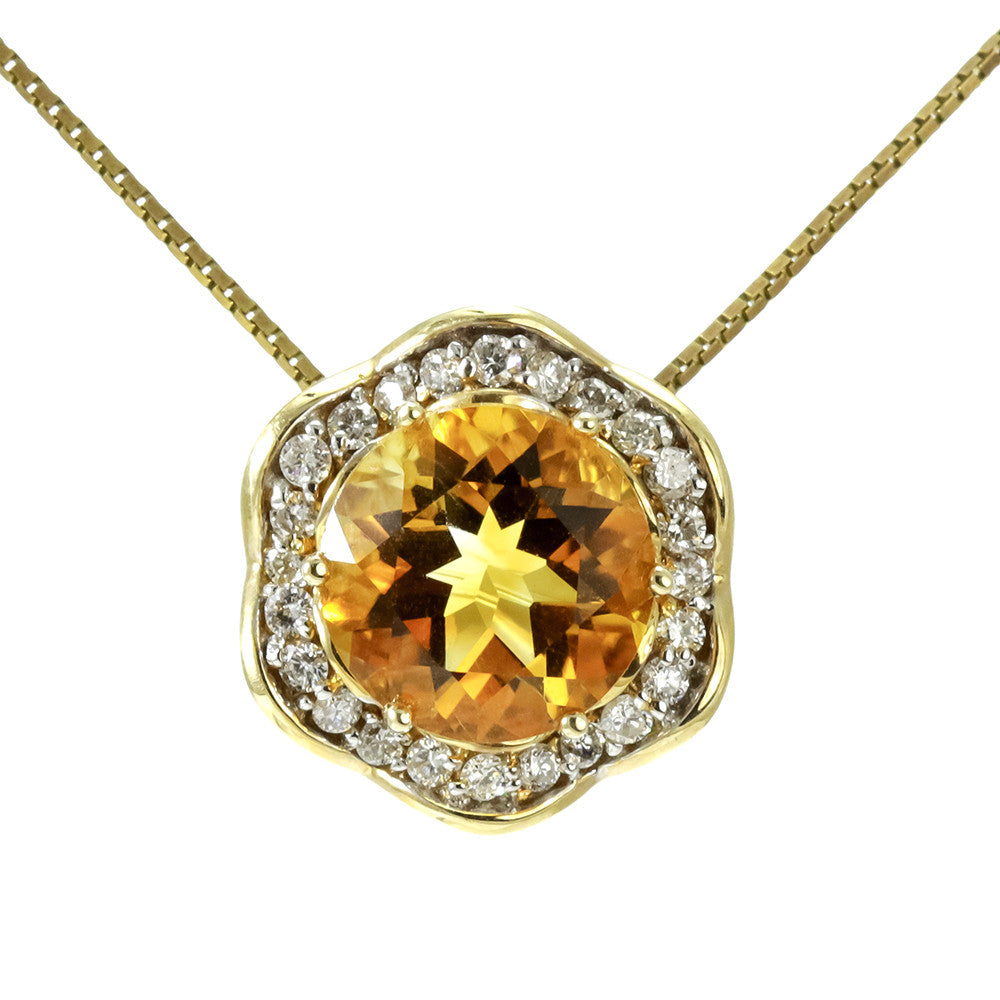 14k yellow gold round citrine and diamond necklace